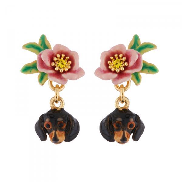 boucles-d-oreilles-clip-tete-de-teckel-et-petite-fleur